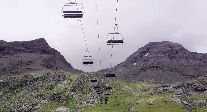Mountain Gravity Energy Storage - Chair Lift and mountains