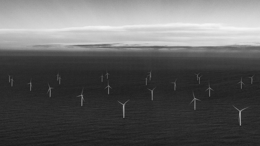 Offshore wind farm - wind turbines at sea