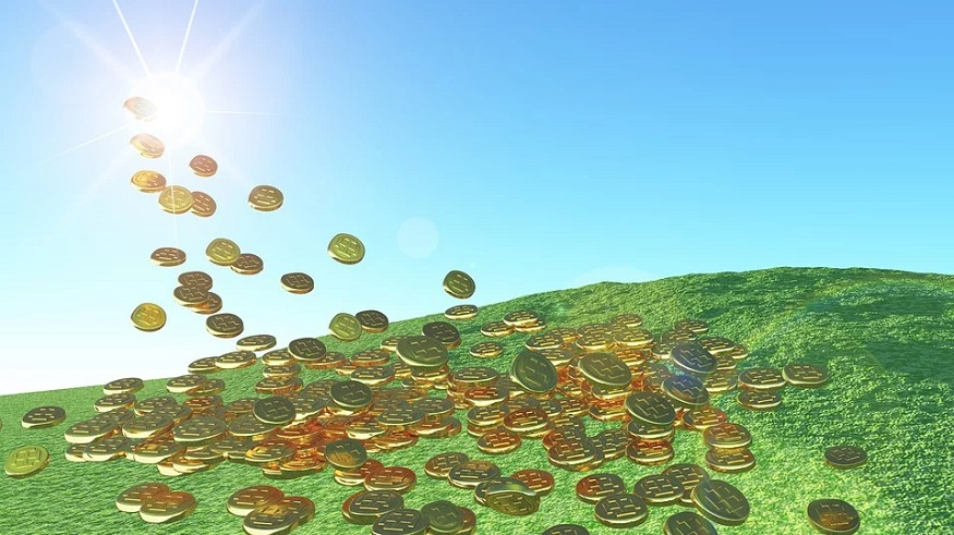 Wind Energy Investment - gold coins - solar - green energy