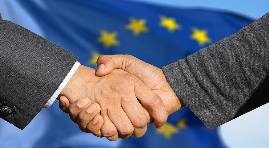 EU hydrogen fuel partnership - Flag of European Union - Handshake