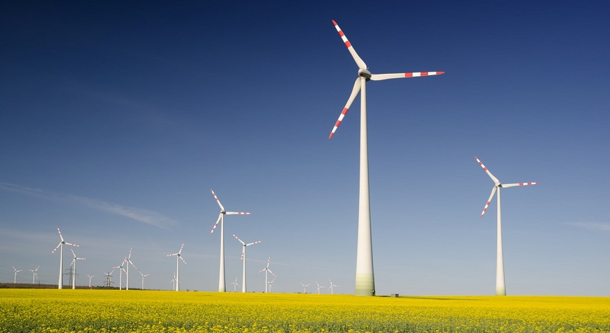 German wind energy - wind turbines in field