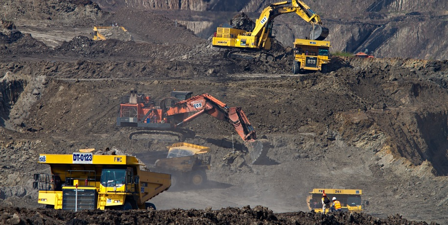 Geothermal energy project - excavators at coal mine