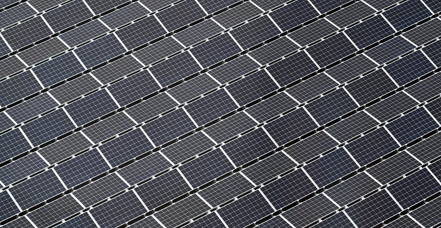 Solar power facility - rows of solar panels