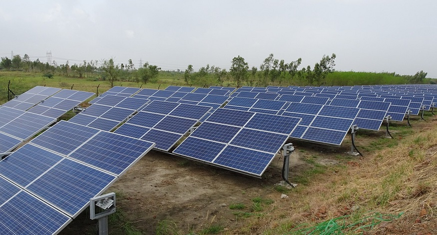 Solar power in India - solar panels in field