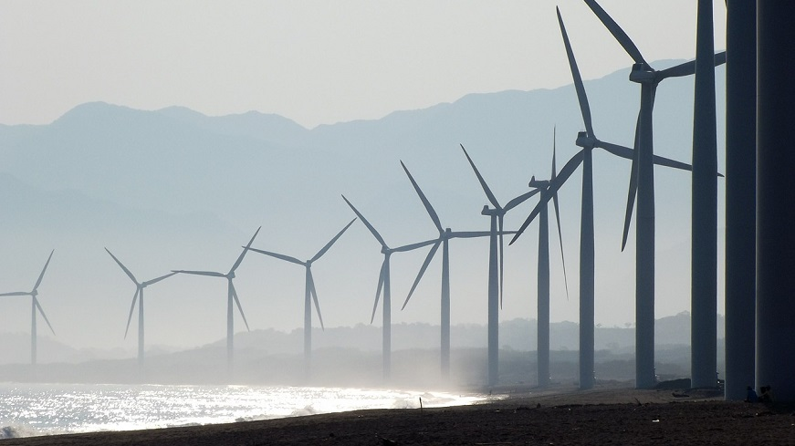 Wind energy islands - wind turbines on beach