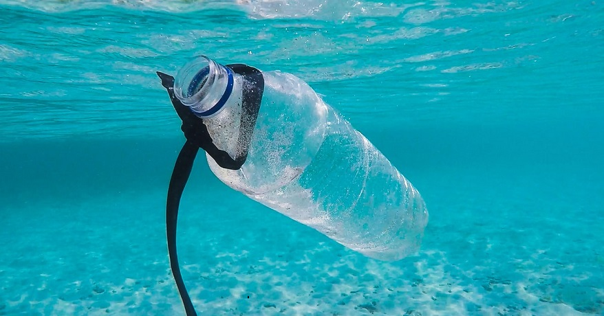 European plastic recycling - plastic bottle under water