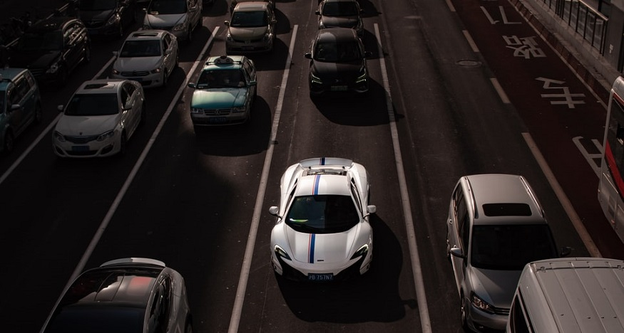 Hydrogen fuel cell policies - cars on road in Shanghai, China