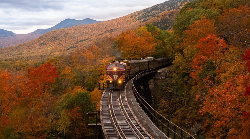 Hydrogen-powered train - Train on tracks in Autumn