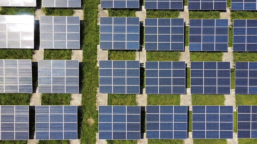 US Solar installations - rows of solar panels