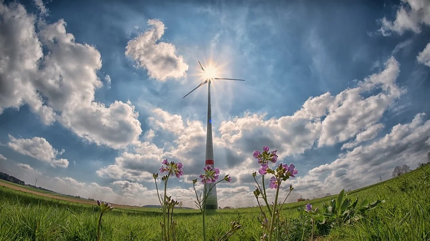 US renewable energy - wind turbine, sun, field