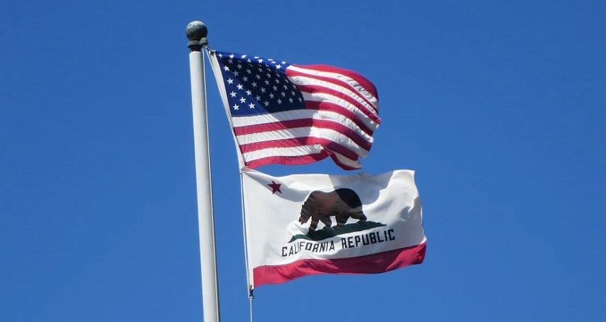 EH Group fuel cell - California and US flags