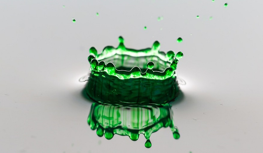 Green ammonia project - splash of green liquid