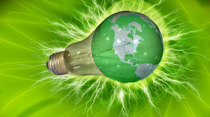 NuScale Power Module - light bulb - green background - globe