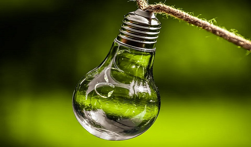 clean energy commitment - light bulb - green