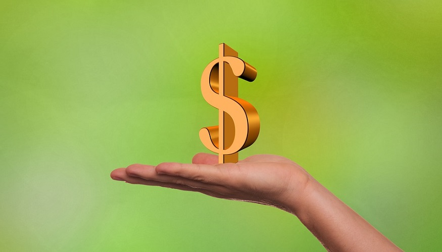Hydrogen fuel investment - hand, dollar sign
