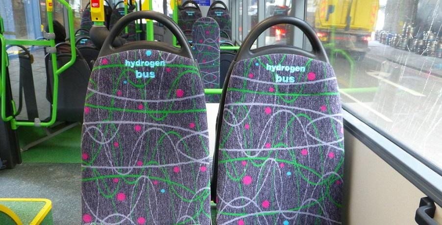 Wrightbus hydrogen buses - Image of hydrogen fuel bus seats - H2 bus interior