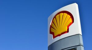 Fuel cells for ships - Shell logo at gas station