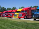 Hydrogen fuel station - Different colored trucks parked