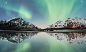 Liquid hydrogen - aurora borealis over Norway