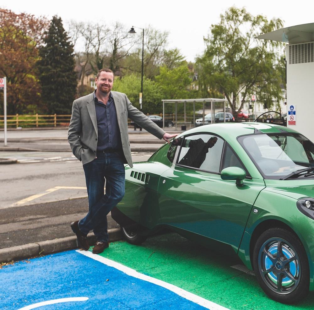 Chris Foxall Riversimple with Rasa hydrogen car